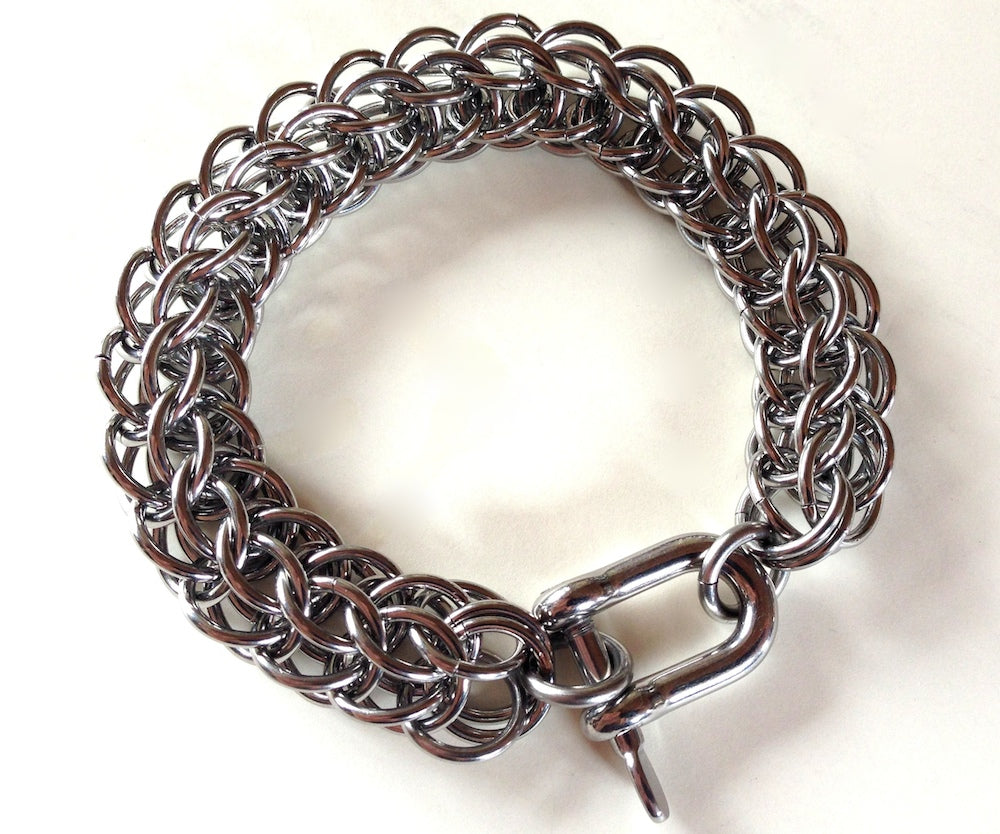 Mens silver stainless steel bracelet persian thick chain by san filippo leather