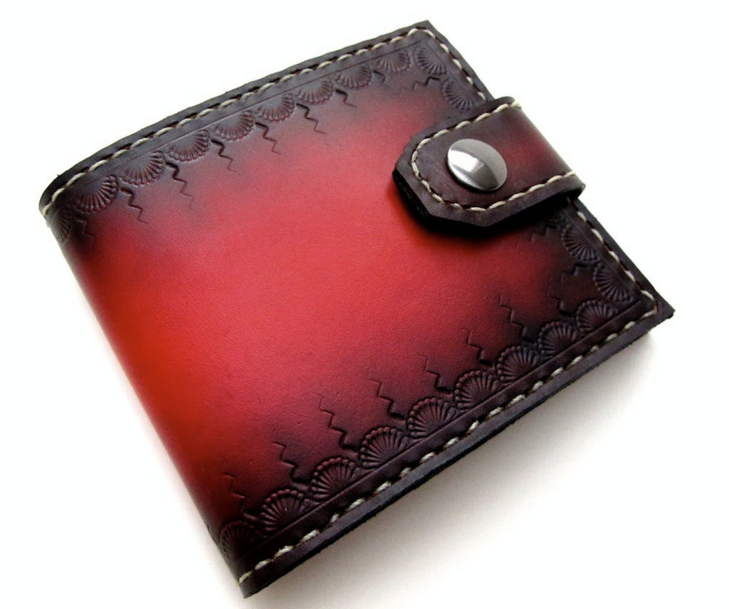 Custom red tooled leather wallet mens fashion by san filippo leather high end wallets