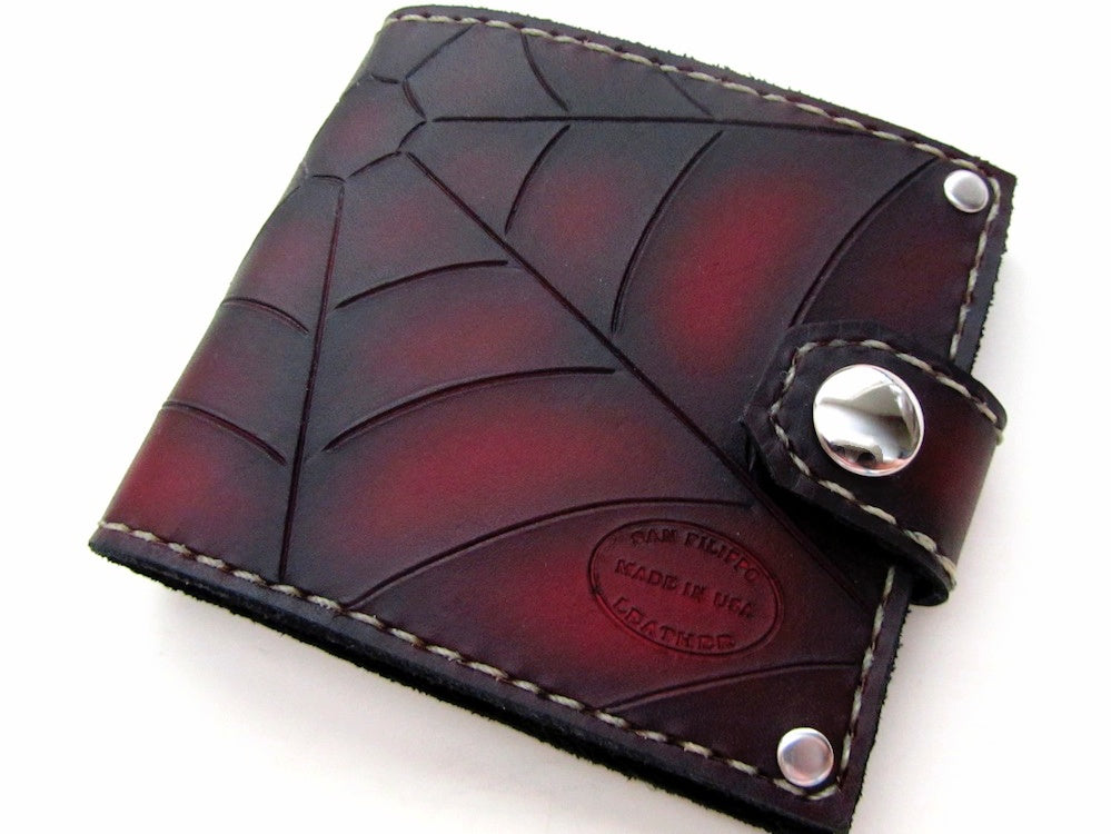 Red Spider Web Leather Bifold Wallet by San Filippo Leather