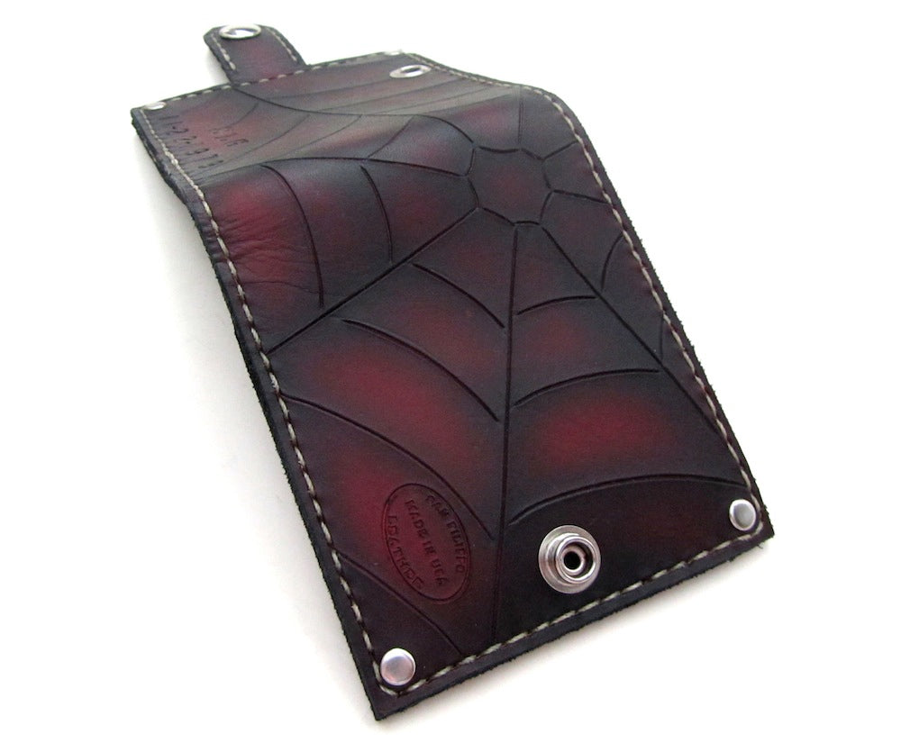 Mens red spider web leather wallet by san filippo leather
