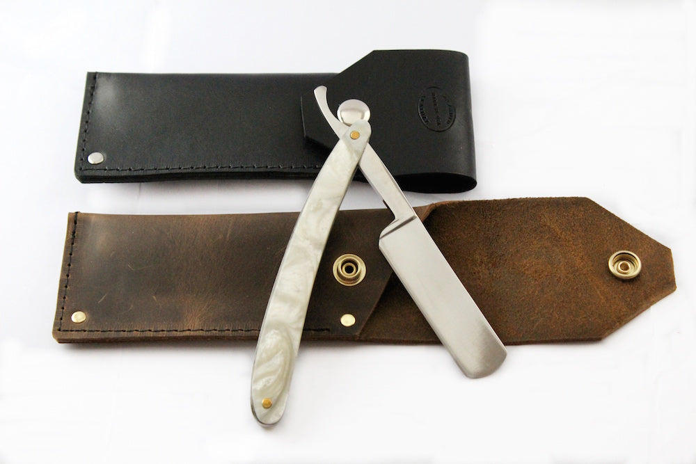 Mens Straight Edge Razor Leather Case Personalized by San Filippo Leather