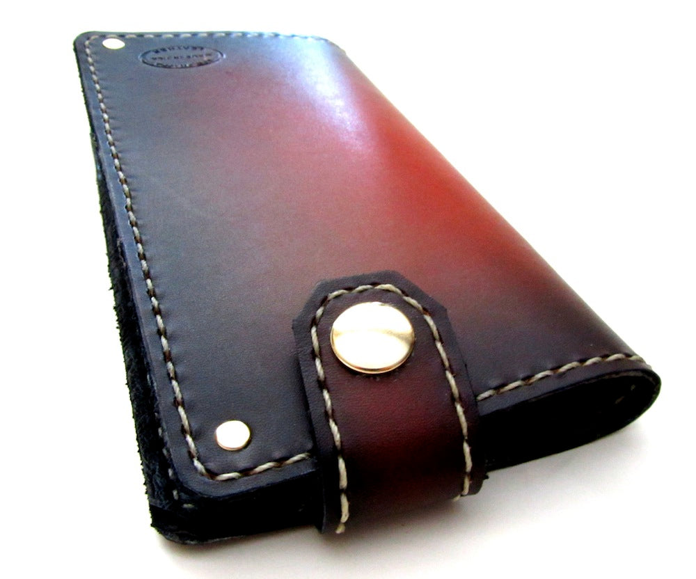Brown Sunburst Mens Leather Wallet Long Wallet with snap by san filippo leather