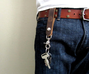 mens leather belt loop trigger clasp key chain by san filippo leather