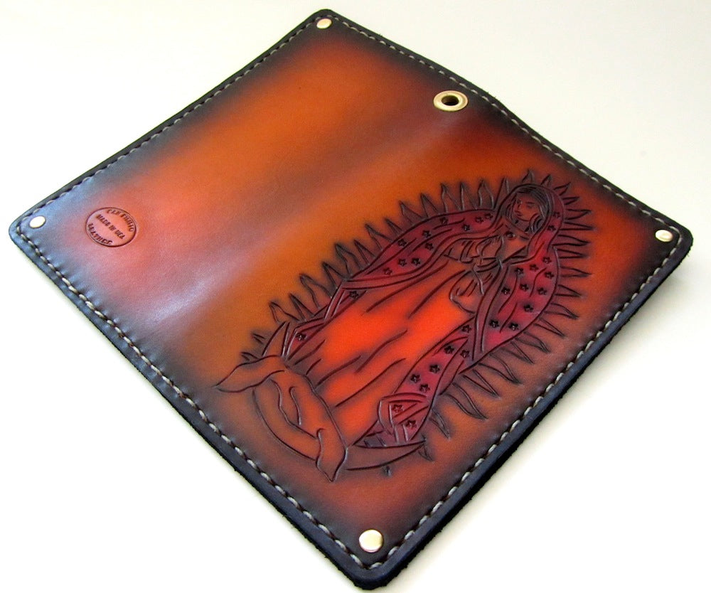 virgin mary de guadalupe hand tooled leather wallet by san filippo leather