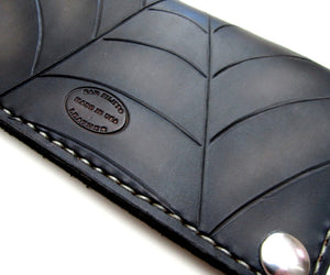 Custom leather biker wallet black spider web by san filippo leather