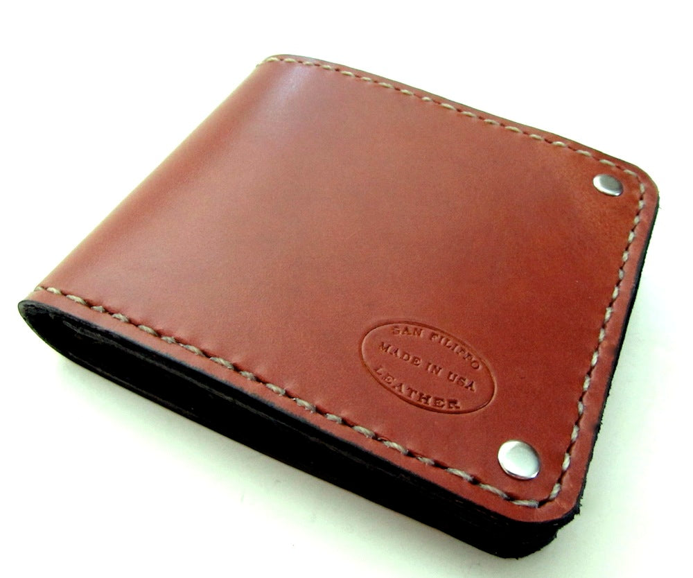 Mens leather bifold wallet by San Filippo Leather