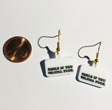 "Load image into Gallery viewer, ""Smile If You Wanna Fuck""  Earrings"
