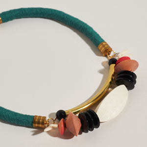 Symmetrical Statement Necklace in Teal