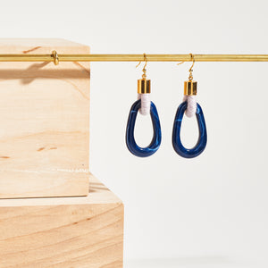 Simple Navy Hoop Earrings