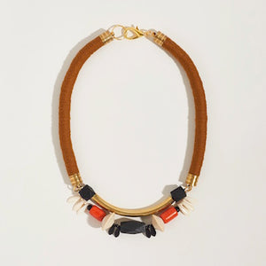 Symmetrical Statement Necklace in Golden Brown