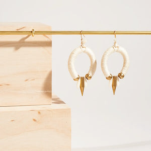 Circular Earrings in Ivory