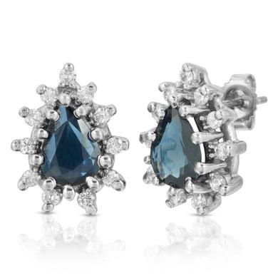 14k White Gold - Blue Sapphire/Diamond Earring