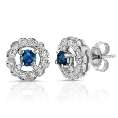 14k White Gold - Blue Sapphire/Diamond Stud Earring