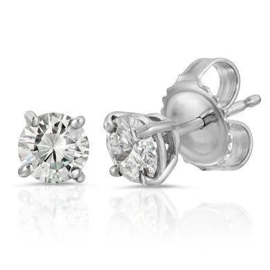 14k White Gold - Diamond - 4 prong - Stud Earring