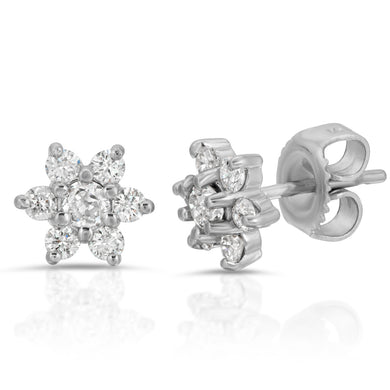 14k White Gold - Diamond Flower Stud Earring