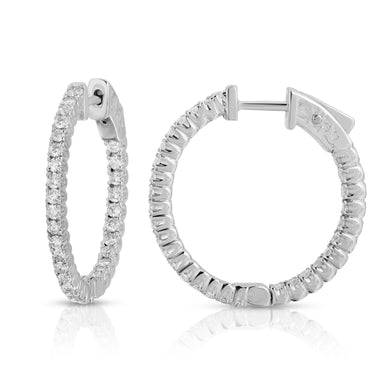 14k White Gold - Diamond Hoop Earring