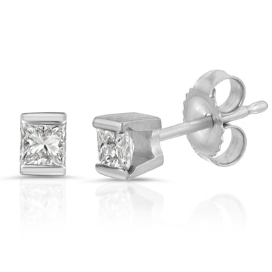 14k White Gold - Diamond Stud Earring