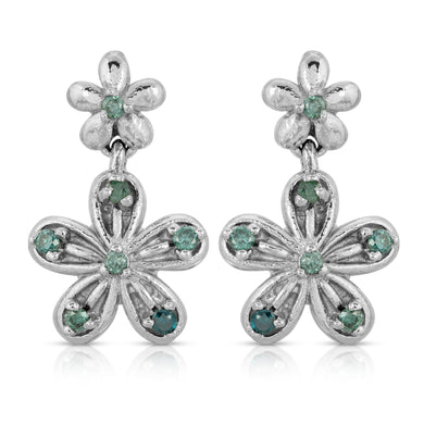 14k White Gold - Flower Earring