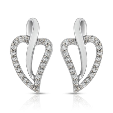 14k White Gold - Leaf DIamond Earring