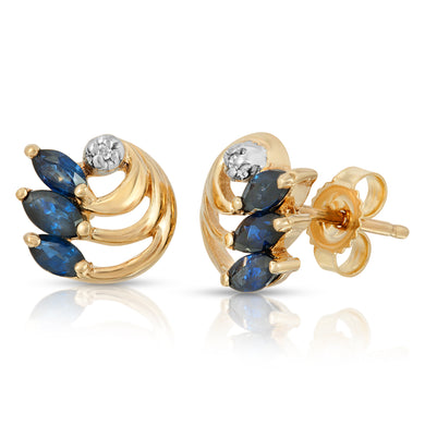14k Yellow Gold - Blue Sapphire/Diamond Earring