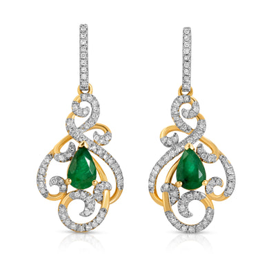 14k Yellow Gold - Emerald/Diamond Chandelier Earring