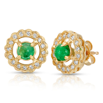 14k Yellow Gold - Emerald/Diamond Earring