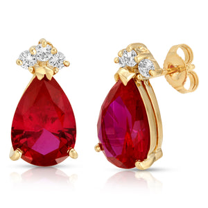 14k Yellow Gold - Ruby/Diamond Earring