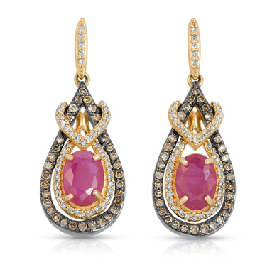 14k Yellow Gold - Ruby/Diamond Drop Earring