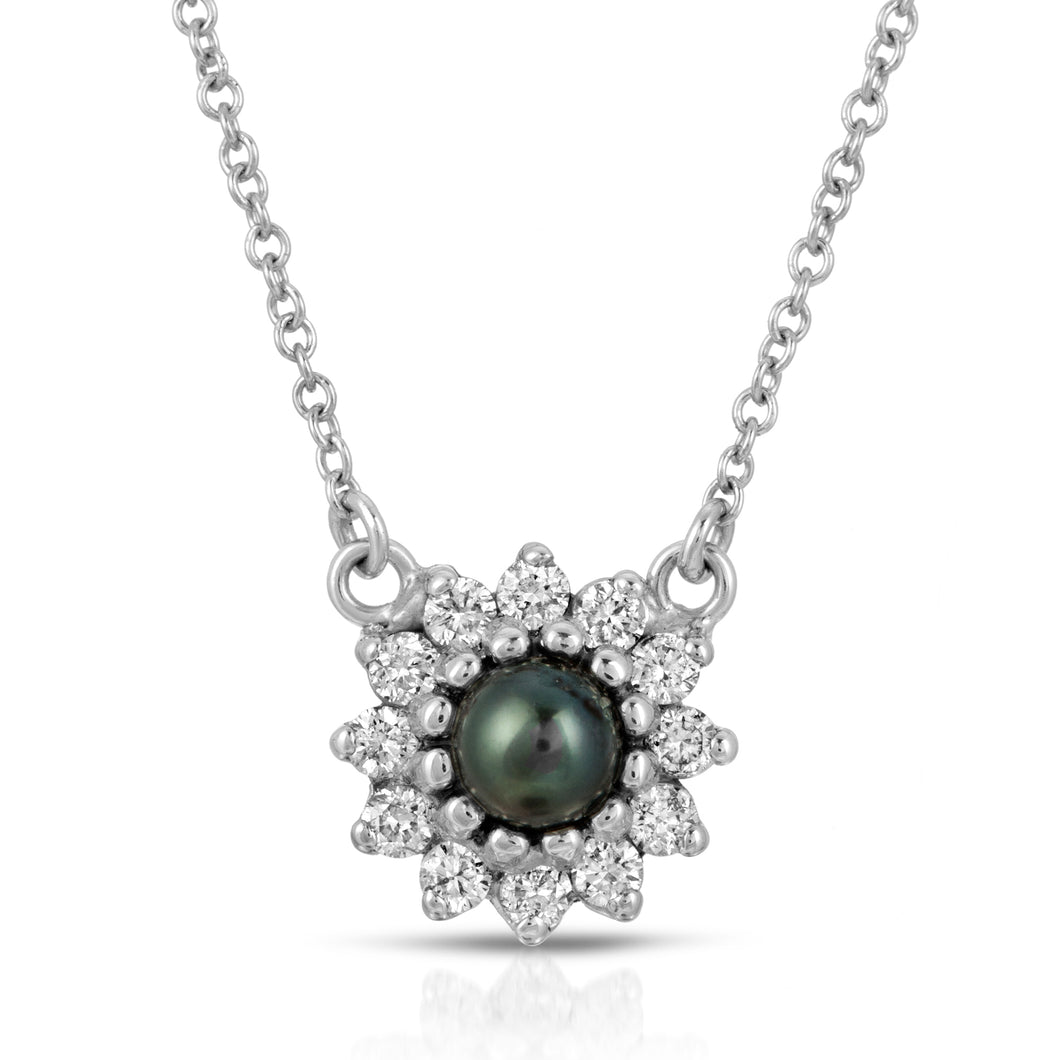 14k White Gold - Diamond/Black Pearl Necklace
