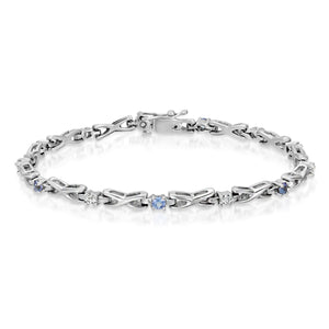 14k White Gold - Diamond/Blue Stone Bracelet