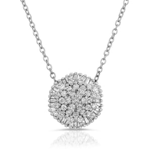 14k White Gold - Diamond Circle Cluster Pendant
