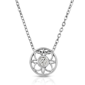 14k White Gold - Diamond Circle Flower Pendant