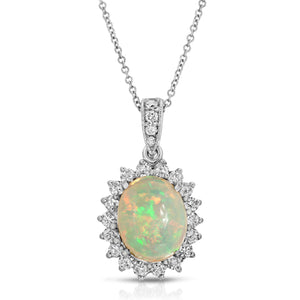 14k White Gold - Diamond/Opal Pendant