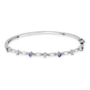 14k White Gold - Diamond/Tanzanite Bracelet