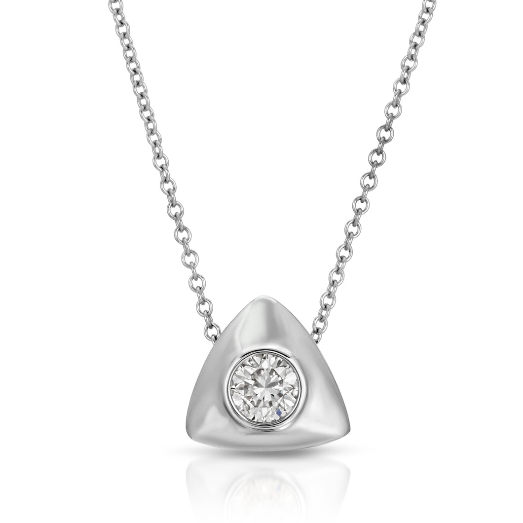 14k White Gold - Diamond Triangle Pendant