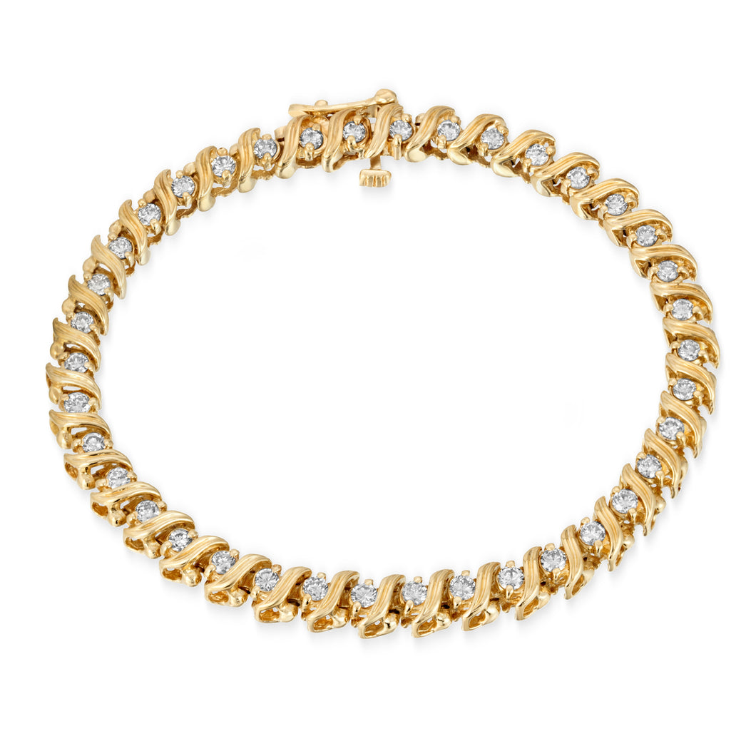 14k Yellow Gold - Diamond Tennis Bracelet