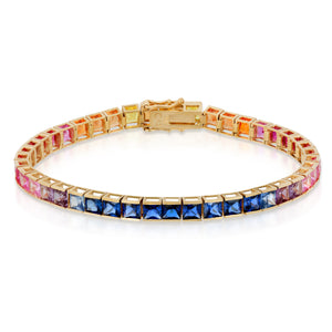 14k Yellow Gold - Rainbow Tennis Bracelet