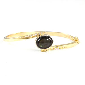 14k Yellow Gold - Black Star Sapphire/ Dimond Bracelet