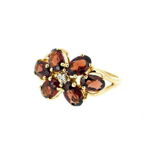 Vintage 14k Yellow Gold - Garnet Flower Ring