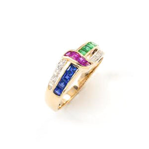 Vintage 14k Yellow Gold - Multicolor Stone Ring