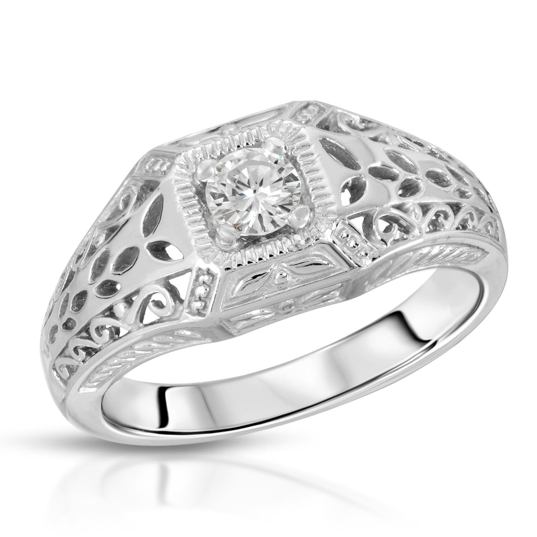 14k White Gold - Diamond Filagree Ring