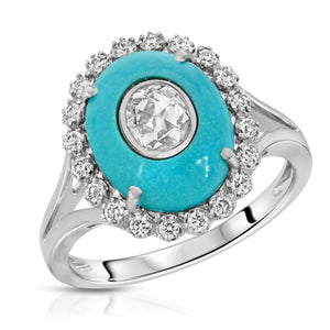 14k White Gold - Turquoise/Diamond Ring