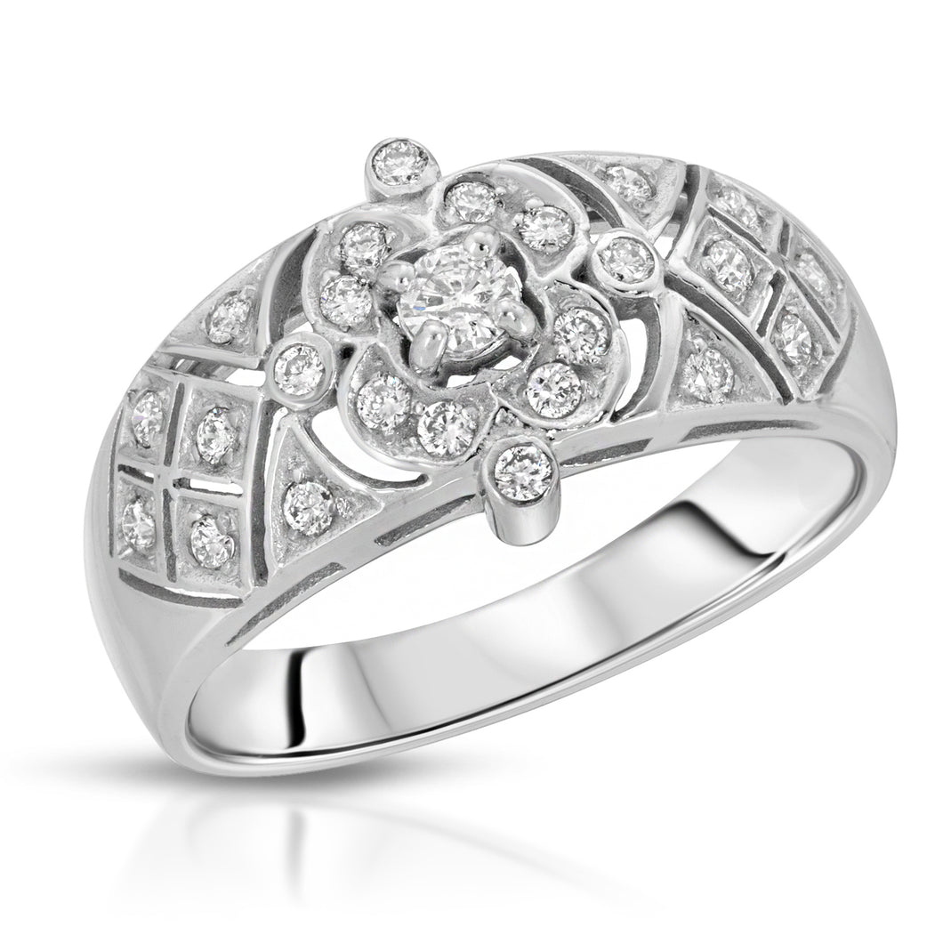 14k White Gold - Diamond Ring