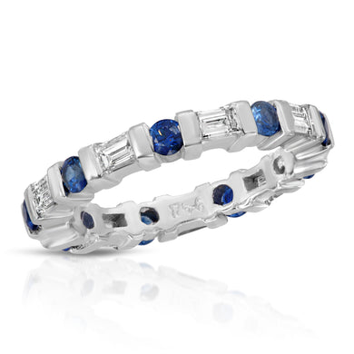 14k White Gold - Diamond and Sapphire Band
