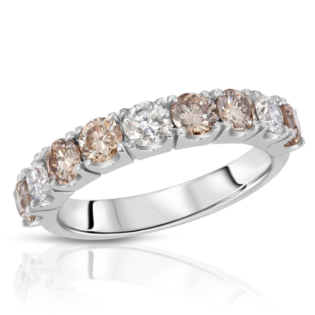 14k White Gold - Brown/White Diamond Band