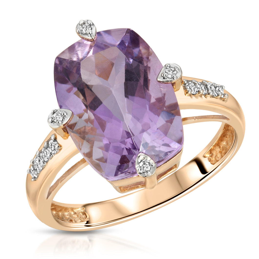 14k Yellow Gold - Amethyst/Diamond Ring