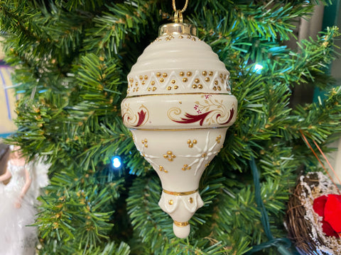 Victorian Burgundy, Ivory and Gold Porcelain Ornament