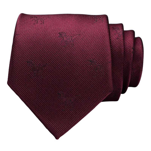 Cravate Dinosaure bordeaux <br> T-rex - Squelette Fossile Shop