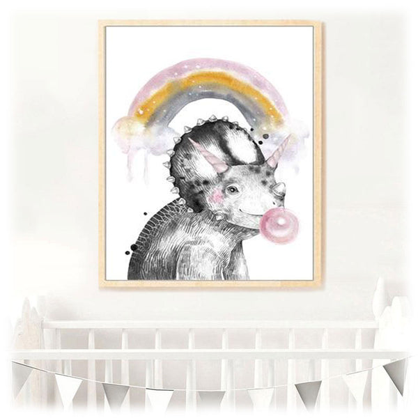 Poster Dinosaure licorne Tricératops - Squelette Fossile Shop