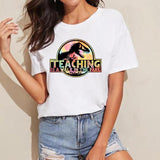 T-shirt Dinosaure Femme Teaching en couleur - Squelette Fossile Shop